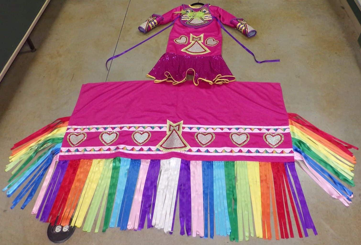 Native American FANCY DANCE RIBBON Dress Girl Regalia Large Arm Bands Shawl Bib – eBay find of the week - PowWows.com – Native American Pow Wows