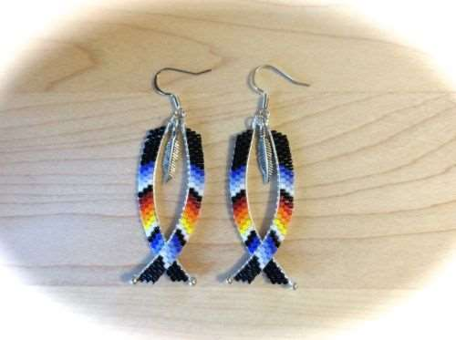 526a10f672349 Hand Beaded Dangle Earrings w/ Feather, Native American Style ...